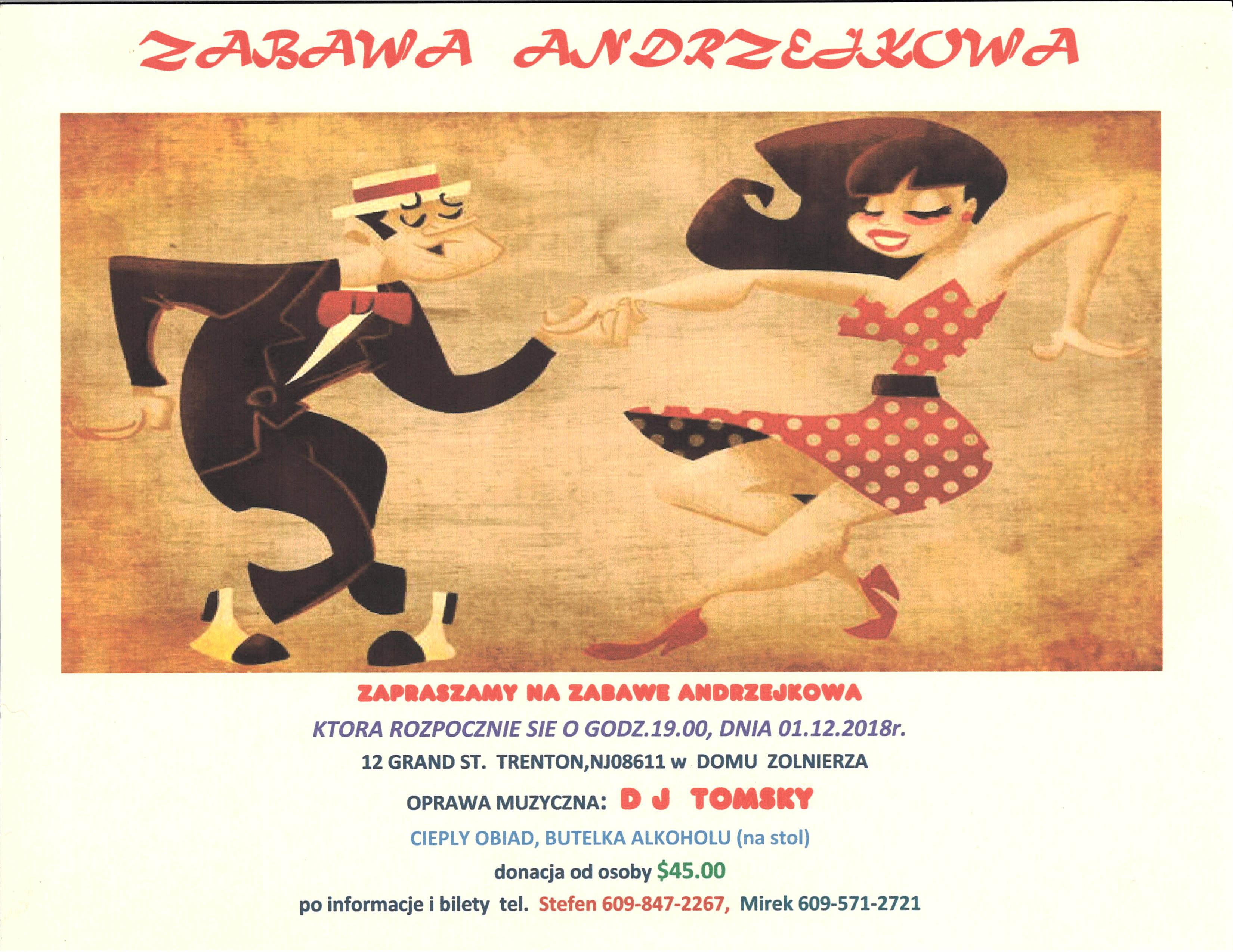 Ogłoszenie darmowe. Lokalizacja:  Trenton, 12 Grand St.. IMPREZY - Pikniki i zabawy taneczne. ZAPRASZAMY NA ZABAWĘ ANDRZEJKOWĄ !.