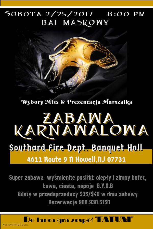 Ogłoszenie darmowe. Lokalizacja:  4611 RT. 9, HOWELL. IMPREZY - Wszystkie inne. Bal Maskowy- Zabawa Karnawalowa B.Y.O.B.