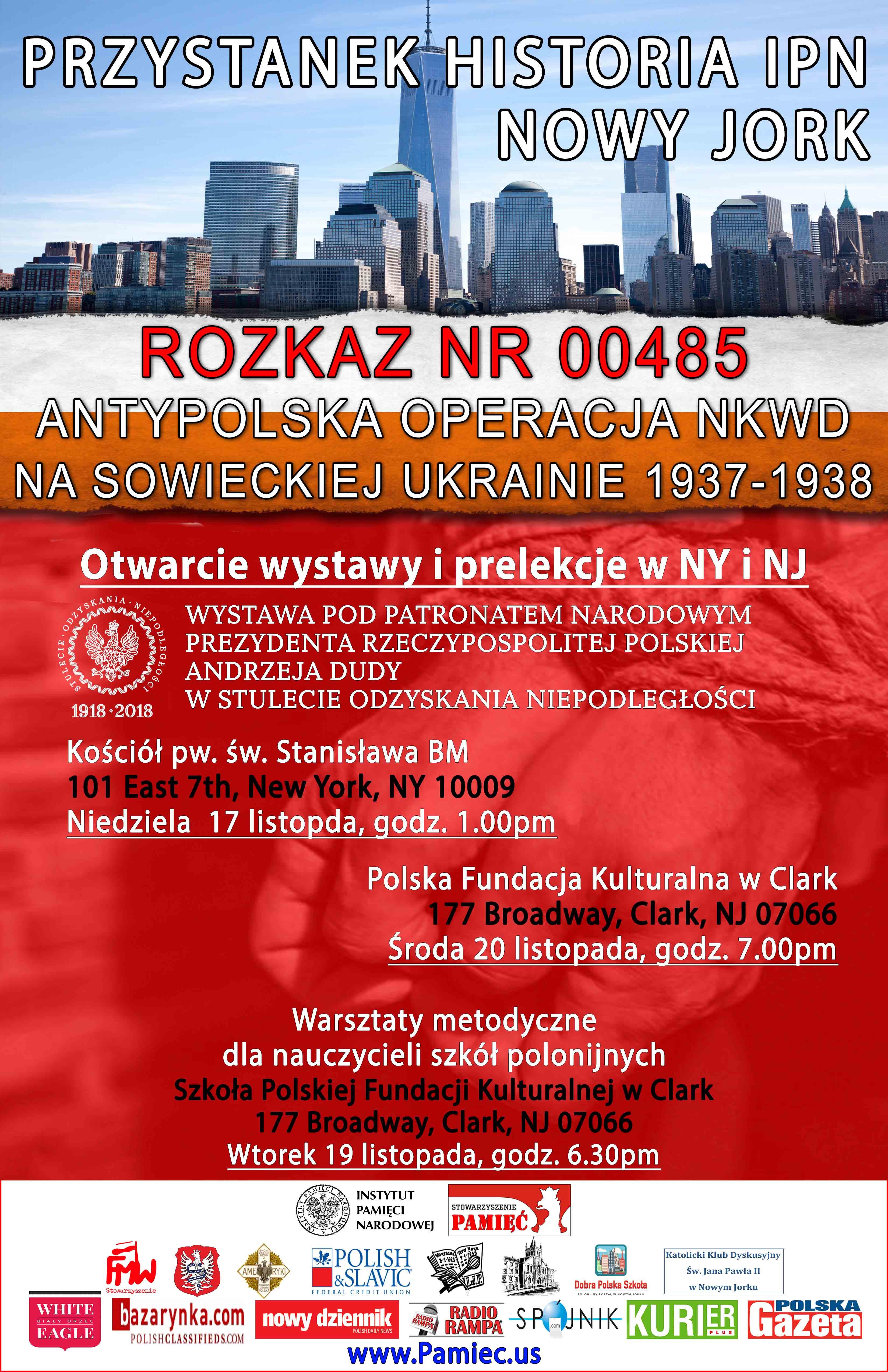 Ogłoszenie darmowe. Lokalizacja:  NY, NJ. IMPREZY - Prelekcje. 8 Edycja Przystanku Historia IPN.