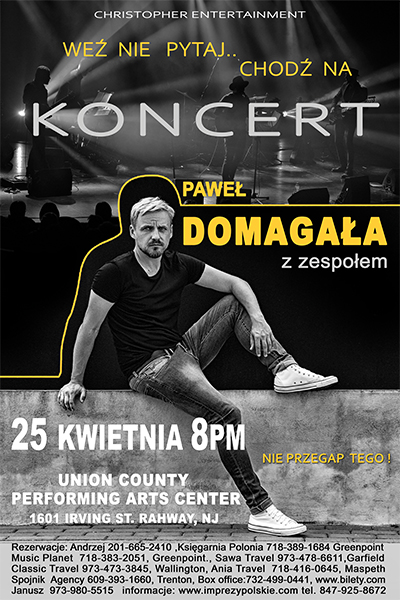 Ogłoszenie darmowe. Lokalizacja:  cale NJ. IMPREZY - Koncerty muzyczne. Pawel Domagala z zespolem. Dlugo.
