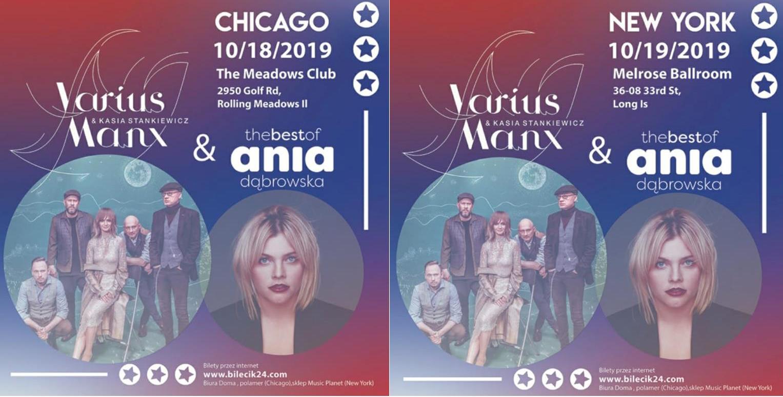 Ogłoszenie darmowe. Lokalizacja:  Chicago. New York. IMPREZY - Koncerty muzyczne. Po raz pierwszy w USA.