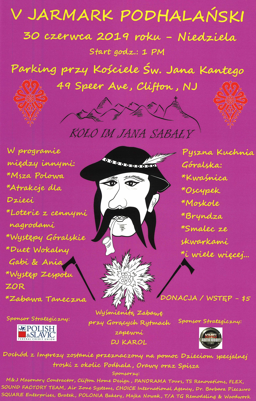 Ogłoszenie darmowe. Lokalizacja:  Clifton, NJ. IMPREZY - Pikniki i zabawy taneczne. V JARMARK PODHALAŃSKI !.