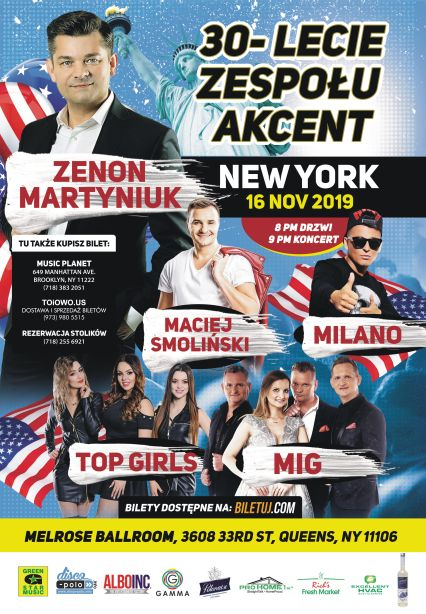 Ogłoszenie darmowe. Lokalizacja:  NY, NJ, PA. IMPREZY - Koncerty muzyczne. 30-lecie zespołu AKCENT. 16 listopada,.
